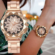 Rose Gold Crystal Flower Women Watches Ladies Quartz Stainless Steel Mesh Watch
