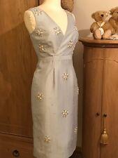 Monsoon Silver grey silk jewelled, Beaded Races, Wedding dress Size 10