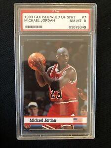 Michael Jordan PSA 8 Low Pop 1993 Fax Pax World Of Sport #7 Chicago Bulls 🐐RARE