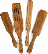 Wooden Spurtle Set of 4 Kitchen Tools Wood Cooking Utensils Non-Stick Cookware