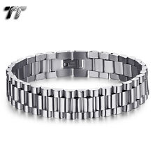 THICK TT Silver Stainless Steel Omega Chain Bracelet Wristband (BBR237S) NEW