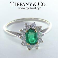NYJEWEL Tiffany & Co Platinum 1ct Emeral Diamond Halo Cocktail Ring