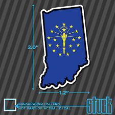 """SMALL Indiana State Shape Flag -2""""- vinyl decal sticker hard hat helmet phone IN"""
