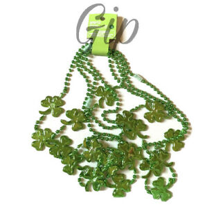 Spritz St. Patrick's Day Green Beaded Shamrock Party Necklaces 4 Count