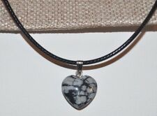 Heart shaped snowflake Obsidian colour stone necklace, soul colour = Pure