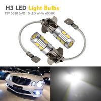 2X H3 5630 SMD 10 LED XENON Lampe Phare Voiture Lumière White 6000K 12V Ampoule