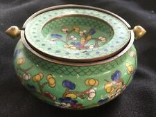 VTG Cloisonne Incense Burner Chinese Ashtray Flipping Lid 4""