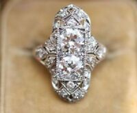 Certified 3 Ct Art Deco Antique Two Stone Moissanite Engagement Cocktail Ring