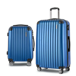 "Wanderlite Lightweight Hard Suit Case Luggage 2 Piece SET 20"" & 28"" TSA App BLUE"