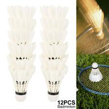 12Pcs Pro Training White Goose Feather Shuttlecocks Badminton Ball Game Durable