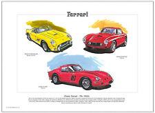 Clásico Ferrari The 1960's - Lámina Artística A3 Tamaño - 250 GT Cali Spyder GTO