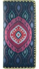 MLAVI IKAT DESIGN MULTI-COLOR LARGE FLAT WALLET VEGAN FAUX LEATHER NEW(BW-IK014)