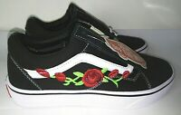 Custom Vans Old Skool Red Rose Embroidered Skate Shoes (real stitch embroidery)