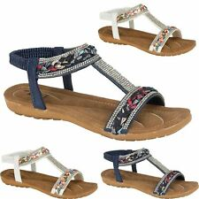 Womens Ladies Flat Sandals Diamante Low Wedge Shiny Comfort Summer Fashion Shoes