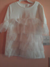 NWT Carter's girl long sleeve white dress w/5 tier tulle ruffled front; size 3T