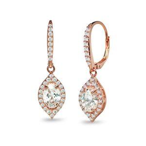 Rose Gold Tone over Silver Evil Eye Dangle Earrings Made with Swarovski Zirconia