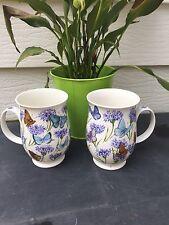 DUNOON Jane Fern Coffee/Tea Mug/Cup Wildflower Butterfly 2x Fine Bone China