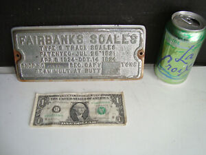 Vintage Fairbanks Scale 1921 Pat. Type S Track Scale Sign Plaques Advertising