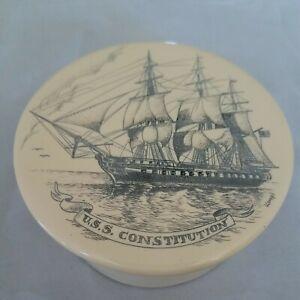 Scrimshaw Round Trinket Box USS Constitution - Vintage Signed KOVAGO 1989