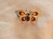 Topaz Colored Rhinestones Butterfly Brooch Czech Gold Plated Painted Enamel