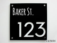 Modern House Numbers,Square Black & White Acrylic - Sign Plaque -Door Number