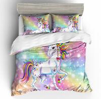 3D Kids Rainbow Unicorn Bedding Set Duvet Cover Pillowcase Quilt/Comforter Cover