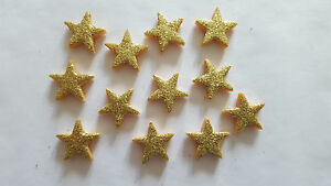 24 GLITTERY GOLD STARS - EDIBLE SUGAR CAKE DECORATIONS / TOPPERS