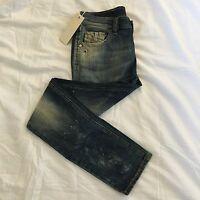"Diesel KXAJH Livy J Girls Age-10 Slim Straight Dirty Blue Jeans BNWT sm6 25"" 26"""