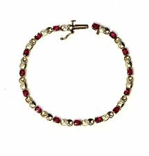 14k yellow gold .075ct VS G diamond ruby XOXO bracelet 7.4g vintage estate