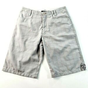 QUICKSILVER Mens Grey Plaid Surf Casual Shorts Size 32