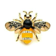 """Cute Bee Pin 1.5"""" Gold Plate Black Yellow Enamel Flying Insect Brooch Rhinestone"""