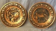 """Copper Wall Hanging Plate Lot Of 2 Well Dog Blacksmith 13"""" Coppercraft Guild"""