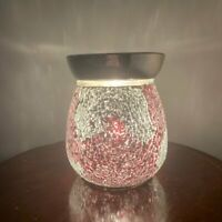 Red and Silver Crackle Electric Wax Warmer/Burner & 10 Scented Melts (3133)