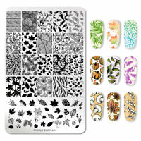 NICOLE DIARY Nail Stamping Plate Leaf Series Image Nail Art Templates Tool L14