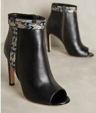 Neuf CYNTHIA VINCENT Anthropologie 7.5 Winona cuir noir bottines talons