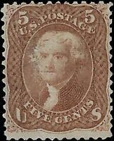 VEGAS - 1867 Sc# 95 5c Jefferson F Grill - Mint, No Gum - Scuffing Front - EI73
