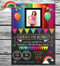 10 PERSONALISED RAINBOW GIRL INVITATIONS INVITES BIRTHDAY PARTY PHOTO + ENVS
