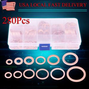 280pcs 12 Sizes Assorted  Crush Copper Washer Sump Plug Banjo  Tap Box