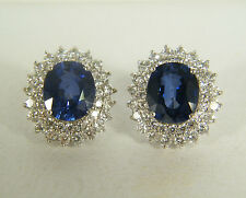 EARRINGS:  OVAL AAA KASHMIR BLUE SAPPHIRE WHITE SAPPHIRE 925 STERLING SILVER