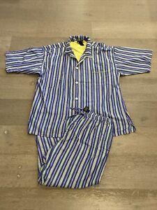 VTG Men's Polo Ralph Lauren 100% Cotton Sleepwear Striped Pajama Set XL Shrt Slv
