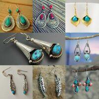 Turquoise Trendy Bohemian Style 925 Silver Woman Jewelry Dangle Drop Earrings