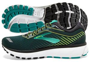 Brooks Ghost 12 Mens Shoe Black/Lime/Blue Grass multiple sizes New In Box