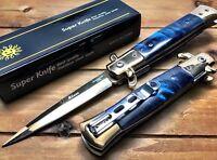 "8.75"" Italian Milano Stiletto Damascus Spring Assisted Open Pocket Knife BL GOLD"