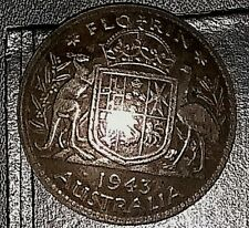 Wwii Trench Art Sweetheart Pin 1943 Florin Australia coin. Rare