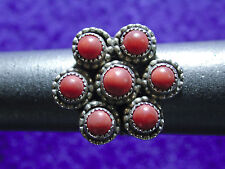 Vintage Navajo Pre-Owned Coral Sterling Silver Women's Ring Size 7.5 Signed _.Y.
