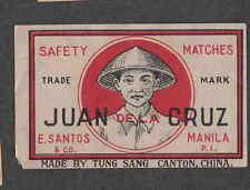 Ancienne étiquette  Allumettes Chine  BN2096 Juan de la Cruz Manille