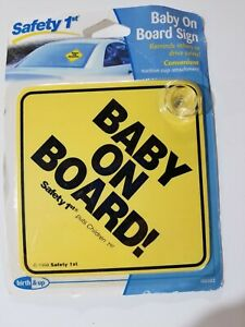 Safety 1st Baby On Board Sign Yellow Brand New In Package With Suction Cup