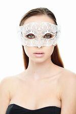 Elegant White Venetian Laser Cut Masquerade Mask BD005WH Mardi Gras Prom
