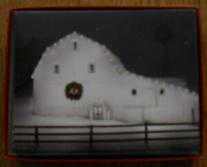 12 CHRISTMAS Leanin Tree Cards Box Set, BIG WHITE BARN DECORATED W/ WHITE LIGHTS