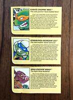 Smash Em Bash Em Bebop Leo Mike Vintage TMNT Ninja Turtles Figure File Card Lot